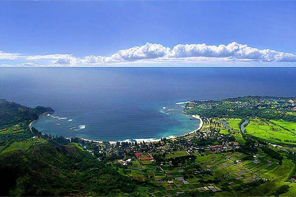Beautiful Crescent Bay Beach and Hanalei Village both within walking distance.