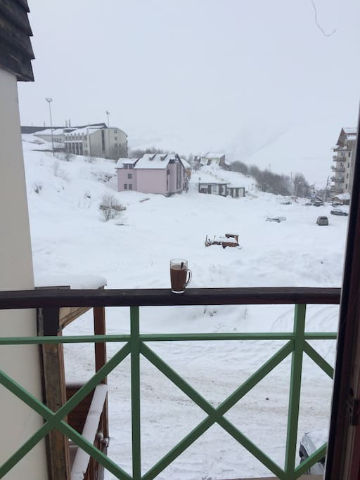 View from balcony Gudauri Marco Polo Hotel and Ski trails