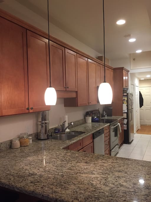 Large eat- in kitchen with fully equipped stainless steel fridge, oven, stove, microwave, Keurig coffee maker, etc. stocked fridge!
