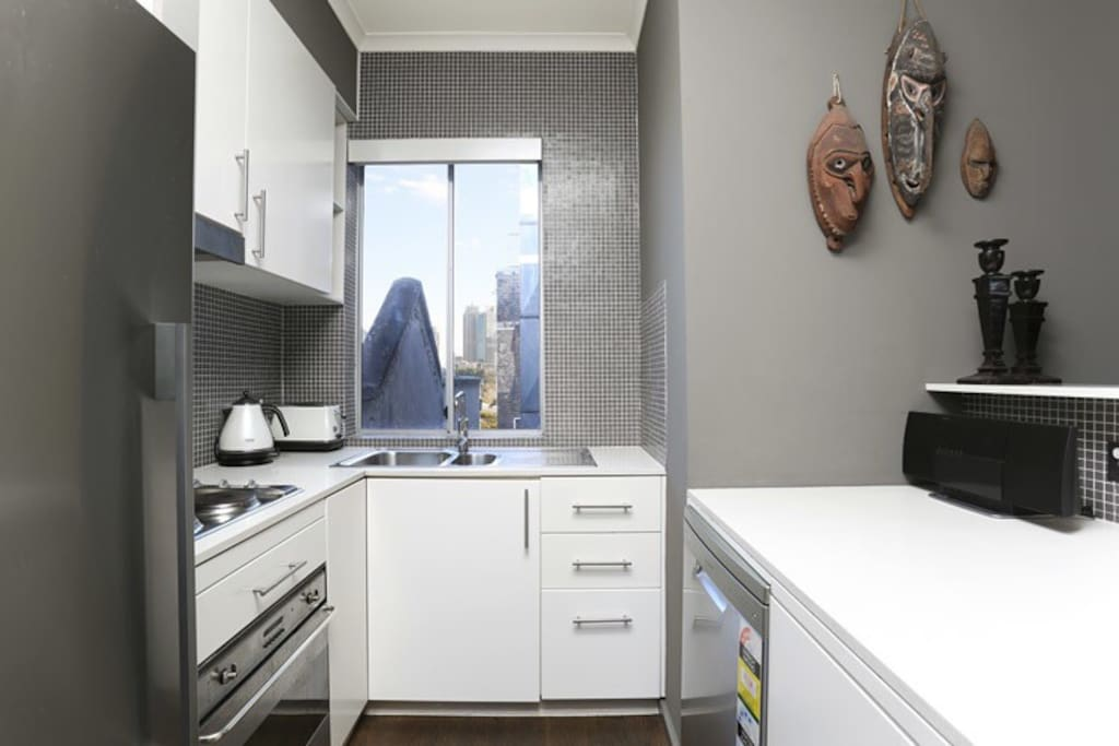 Well equipped kitchen with cameo views of the city. Hot plates, dishwasher, convection oven, refrigerator and appliances.