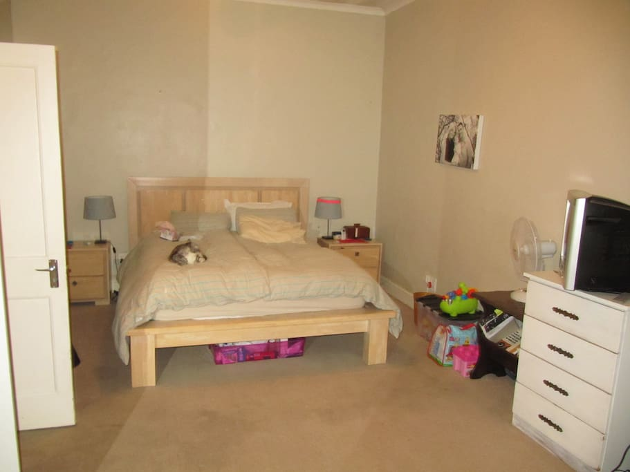 Spacious room with queen sized bed