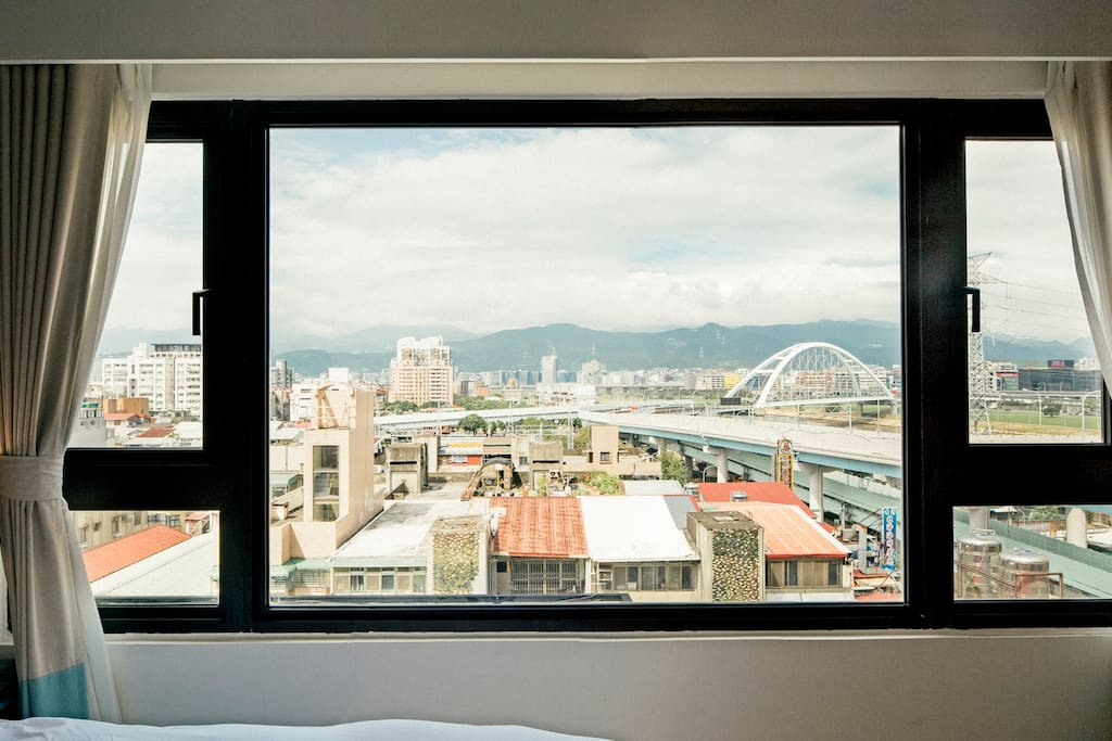 Large window with mountain & river view