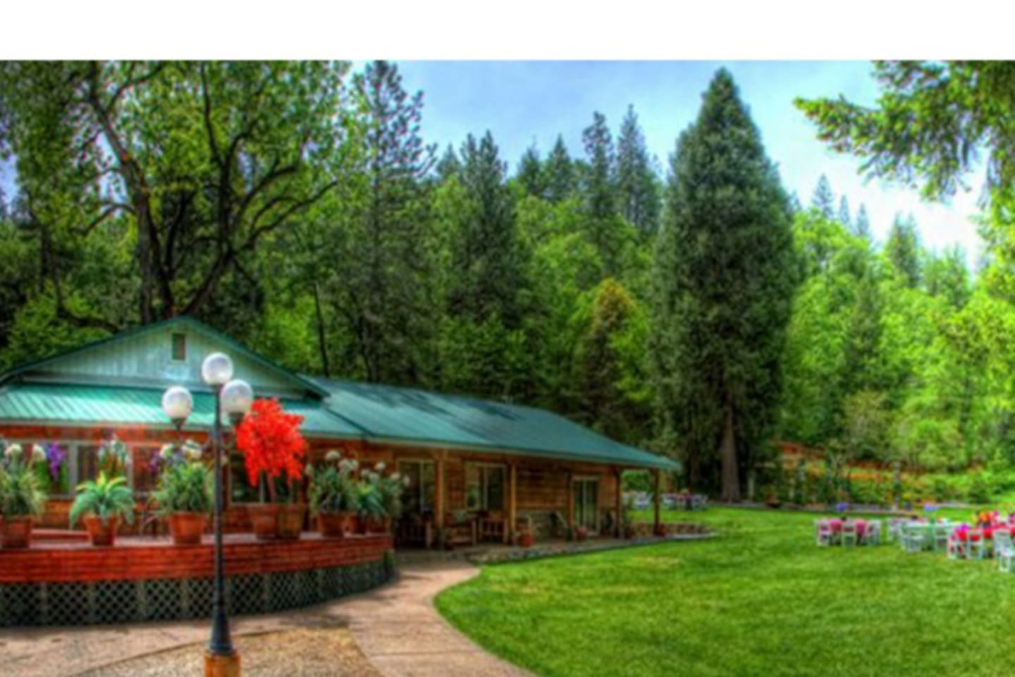 Surrounded by breath-taking national forestry, a day spent at House on the River is an escape from the busyness of everyday life.  Set on its own private land mesa within a river canyon, it is the only property on the river for 25 miles. With its unmatched view of the river, it is Shasta County's premier outdoor wedding venue. Being only five miles from Shasta Lake, boating, and plenty of other water activities also makes it a unique vacation rental. House on the River creates an unforgettable setting for events whether it's a wedding, reunion or family vacation.