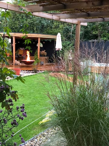 Late summer picture with Miscanthus in bloom