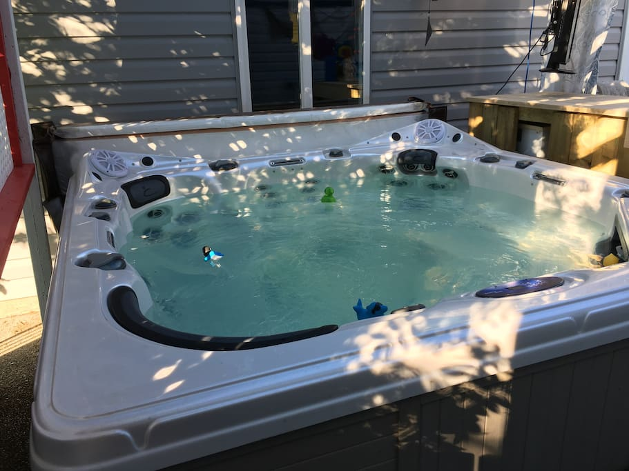 The newest edition to our airbnb , hot tub
