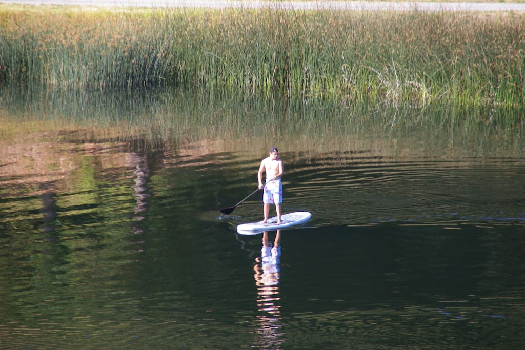 Paddle boarding on the lake