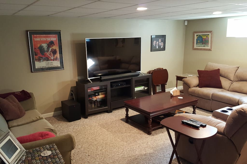 TV room in the basement