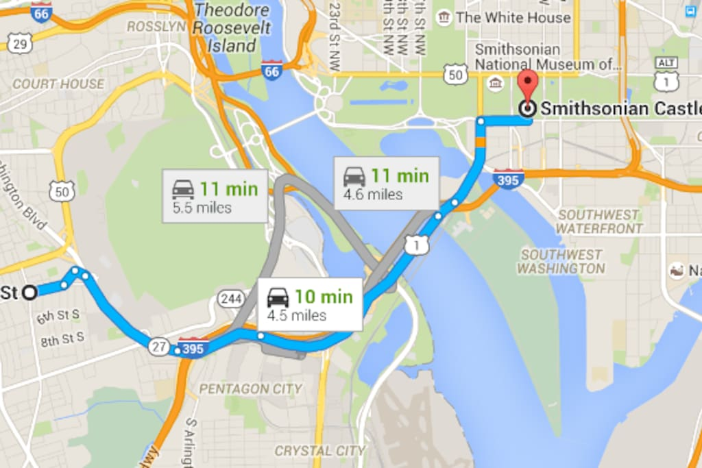 10 mins to Washington DC museums like Smithsonian by car or taxi