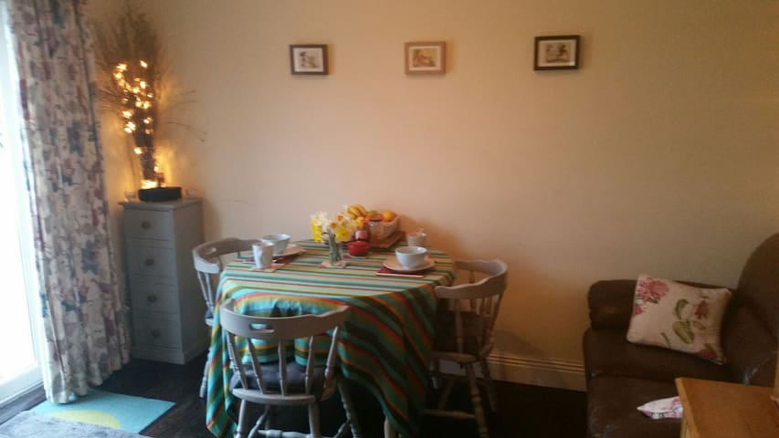 comfortable private dining room/living with cable TV for guests