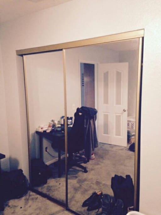large closet mirror door
