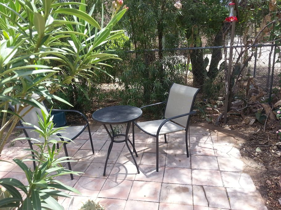 Shady patio area