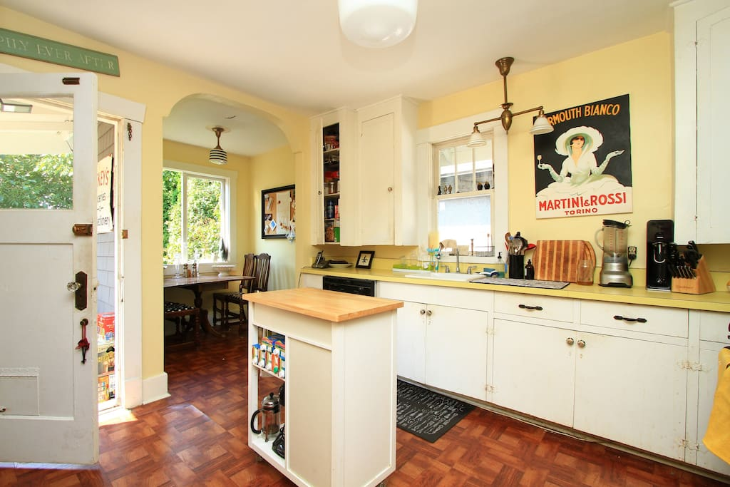 Large kitchen with butcher block
