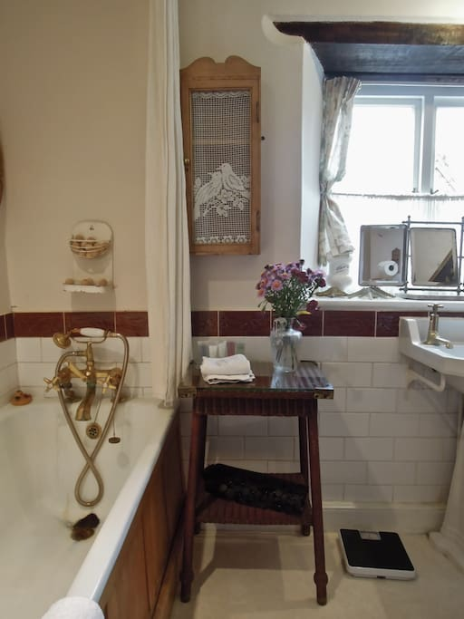 The Pine En-Suite Bathroom is fitted with Victorian Brass shower and tap fittings to add to the Victorian atmosphere.