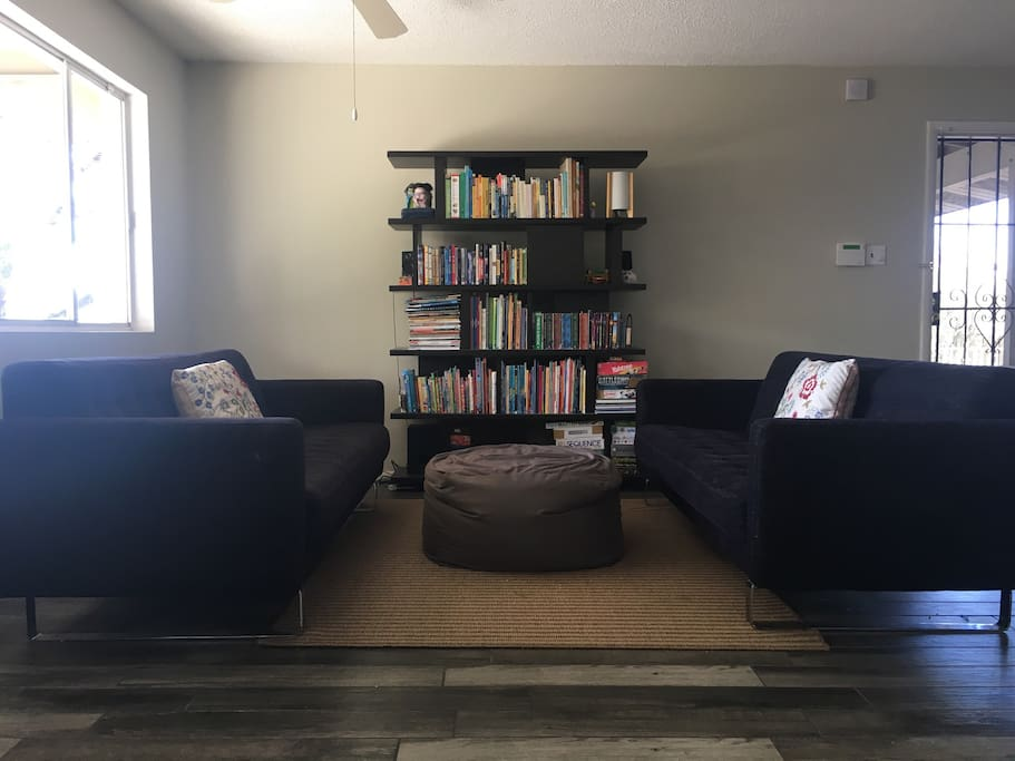 Living room with books and games.