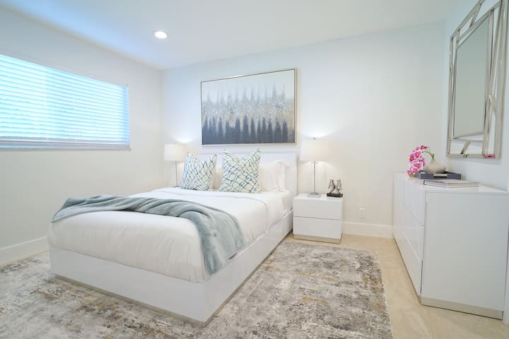 Bedroom Three Features Queen Bed + Samsung 4K Smart Streaming TV + Full Size Dresser + Walk-In Closet...
