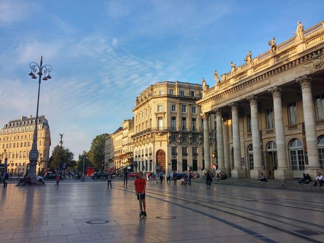 Bordeaux patrimoine mondial, le Grand Théâtre et la colonne des Girondins.