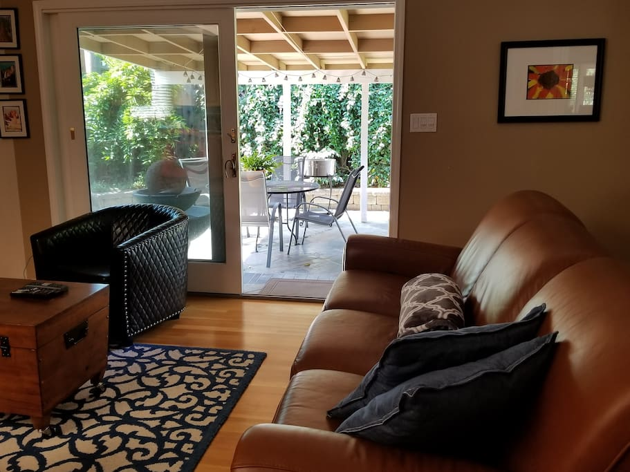 Family room leads to an open patio.