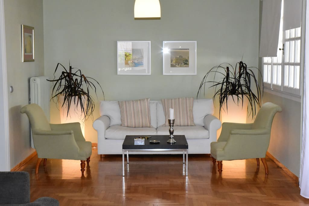 Spacious living room for our guests, divided in two spaces