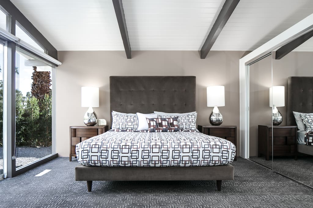 The master bedroom - with en suite bathroom - features a designer's touch and pure luxury bedding.