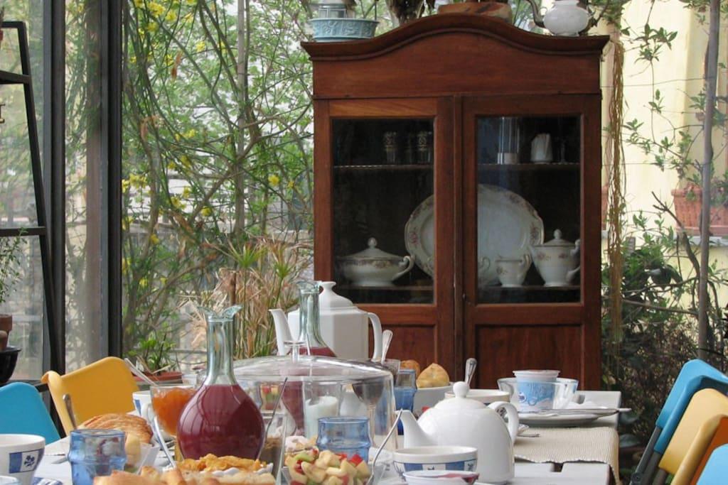 la veranda dove viene servita la colazione