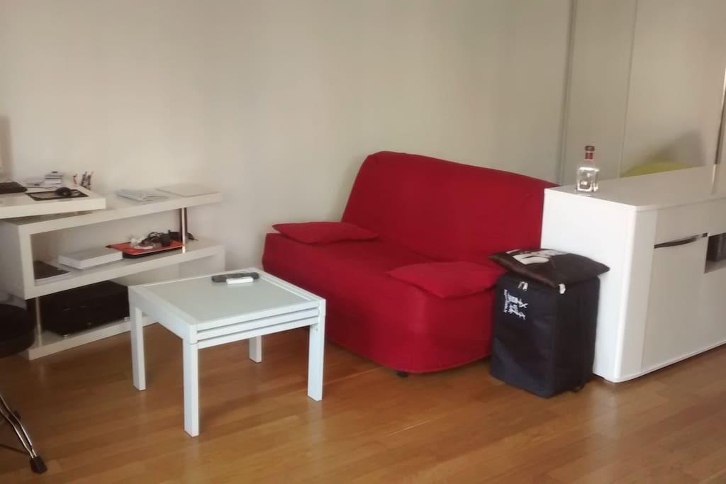 canap lit dans grand studio appartements louer clamart le de france france. Black Bedroom Furniture Sets. Home Design Ideas