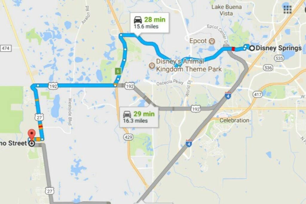 Located just a 15 minutes to the main attraction ofe the area ... Walt Disney World. Andos a la atracción principal de la zona ... Walt Disney World. And 30 minutes from the international airport and the best malls in Orlando  minutos del aeropuerto internacional y de los mejores malls de Orlando.