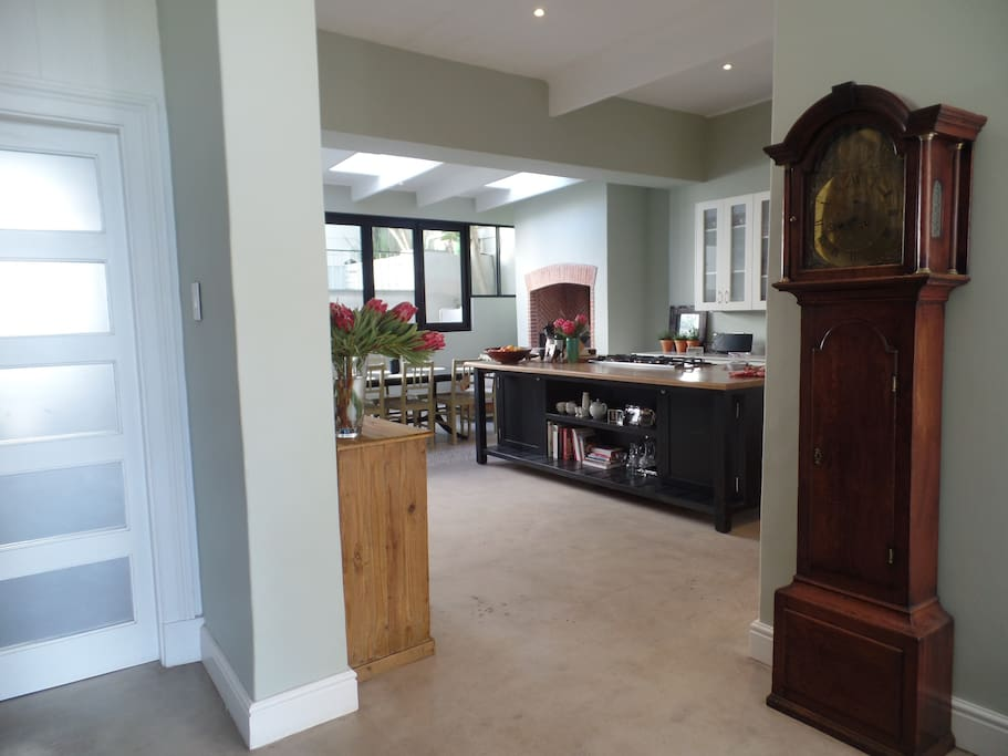 view to the kitchen & dining area from the entrance hall