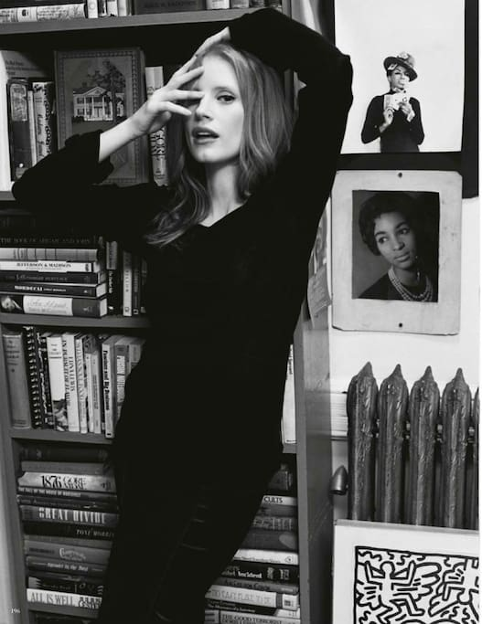 Your private entryway with Jessica Chastain.  (photo: Bruce Weber)