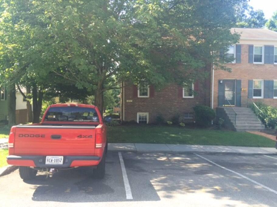 Parking on NE side of house.