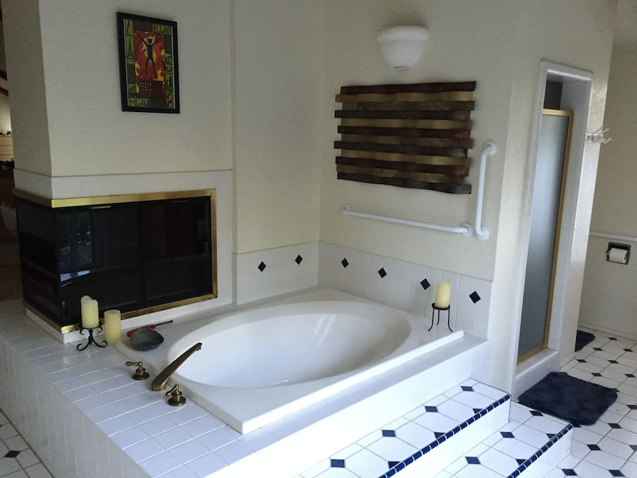 Large open bathroom with fireplace, tub, shower, large vanity, and views of backyard and creek
