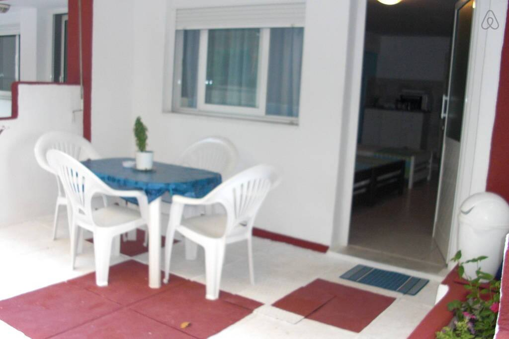 Personal patio of studio apartment.   Seaview only from the street.