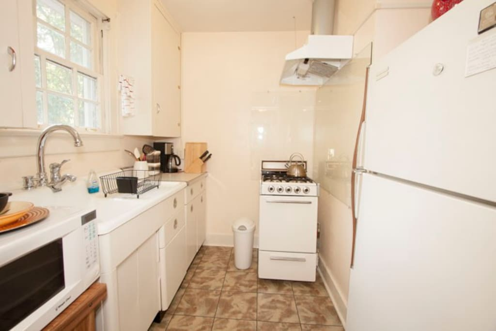 Full kitchen, gas stove, microwave, coffee and tea provided.