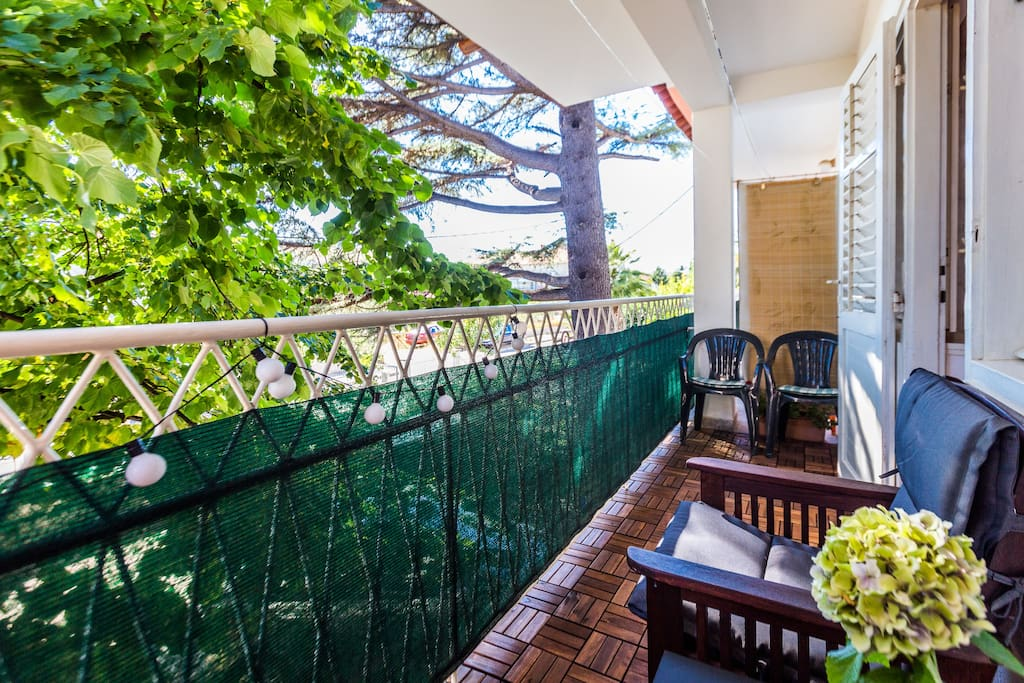 Enjoy Your Coffee in the Shade on the Balcony  outside the Master Bedroom