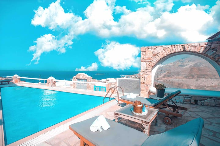 Sunset villa mykonos with sea view & private pool