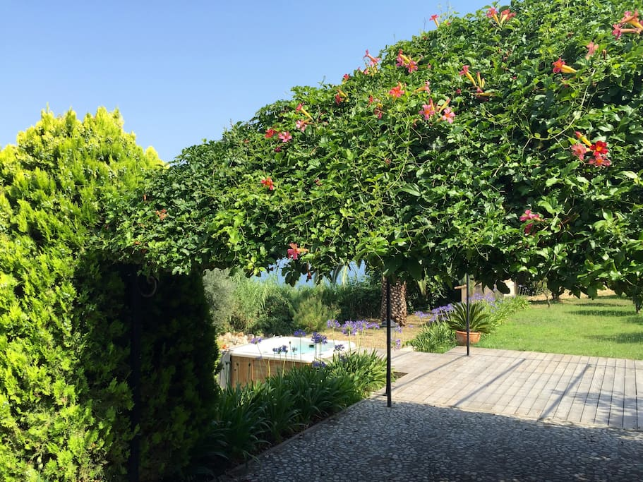 The pergola, the garden and a private jacuzzi (heated in winter)