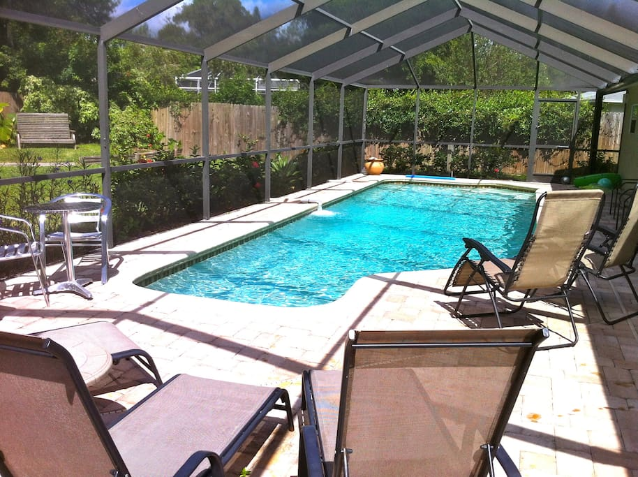 Solar heated pool and seating areas