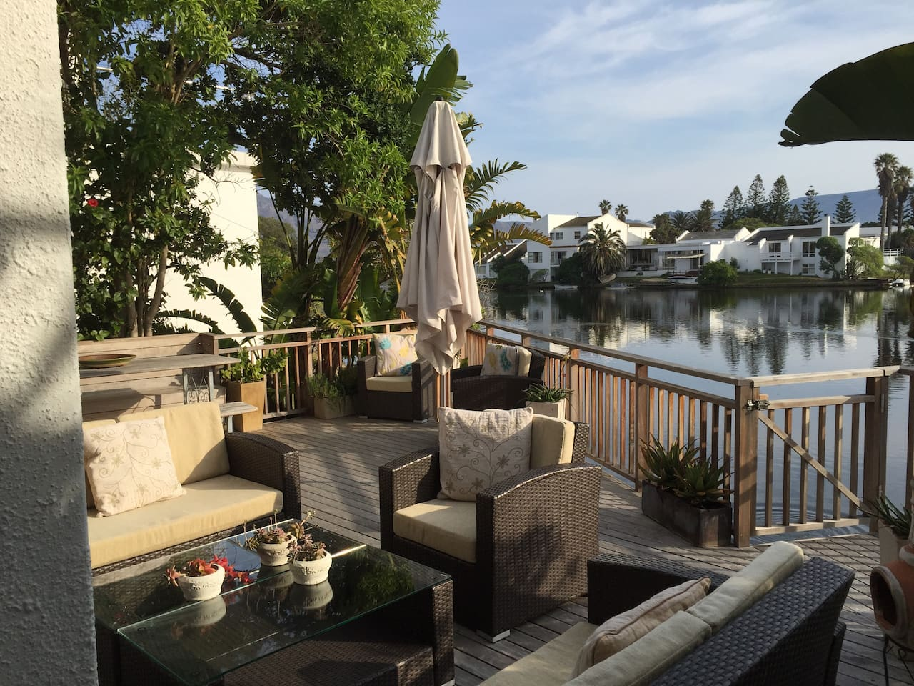 Relax on your own deck right at the water edge of the Marina