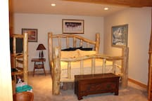 Bedroom 1: King bed and twin-sized bunk beds