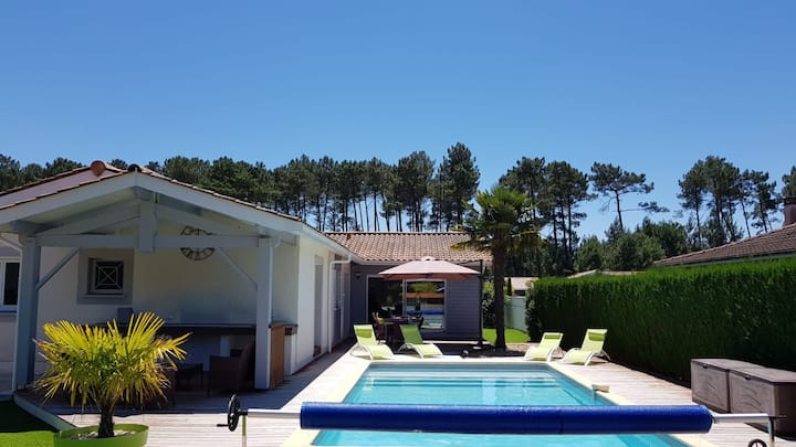 Villa piscine chauffée Audenge Bassin d'Arcachon