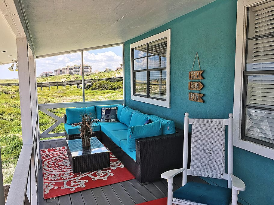 Oceanfront Porch with 2 Rocking Chairs & Modway Sunbrella Furnishings