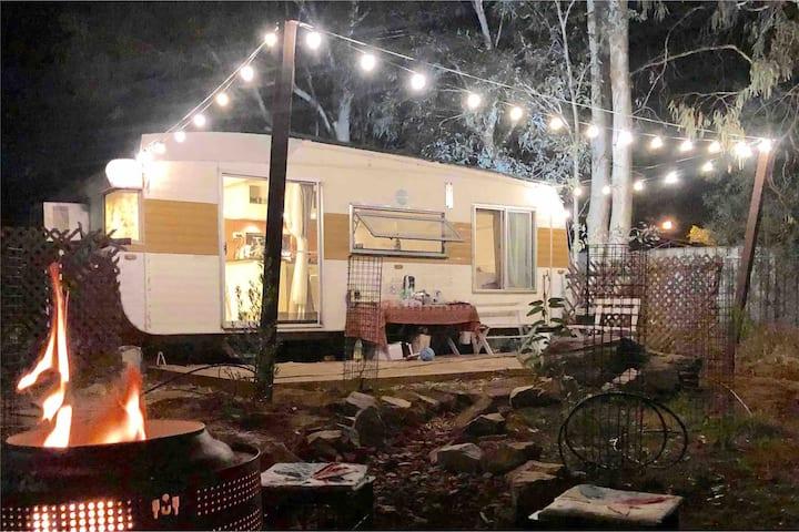 Alice Wondervan vintage caravan gum tree getaway