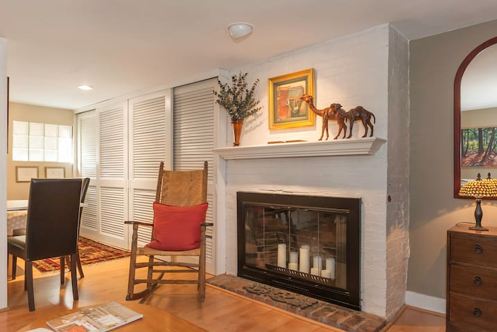 Living room area with closets beyond