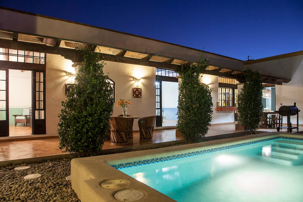 Every room in Casa Antigua opens up to the pool area. The pool measures 1.43m x 1.95m x 2.44m