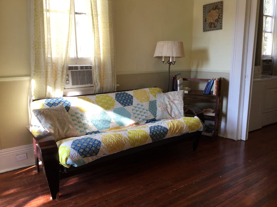 The front parlor with the futon made up as a sofa. It converts into a double (full) bed.