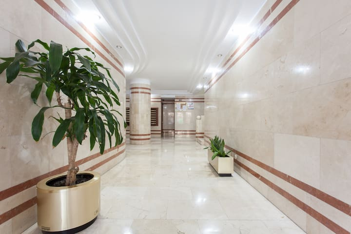 Marble building lobby.