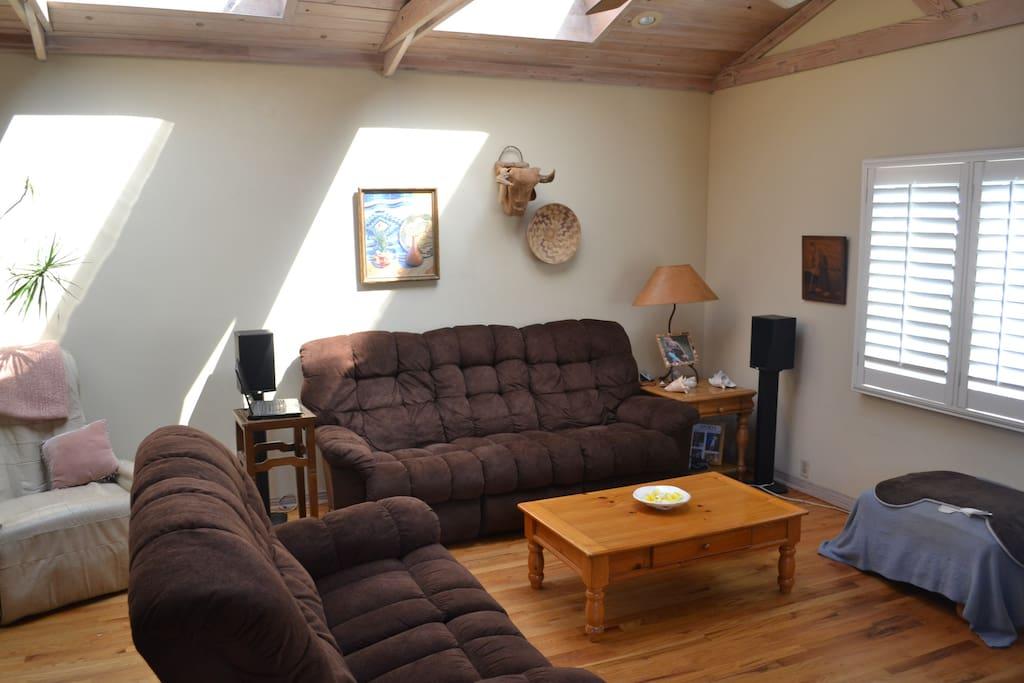 Living Room Shiatsu Chair and Skylights.