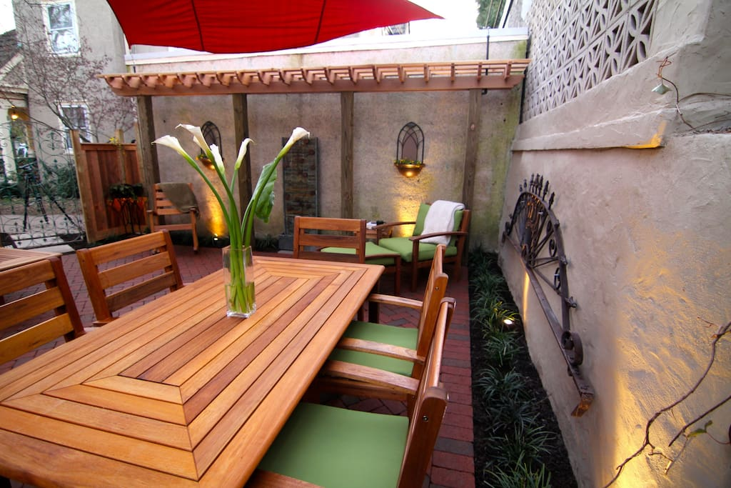 Dine and relax in style on the enclosed back patio.