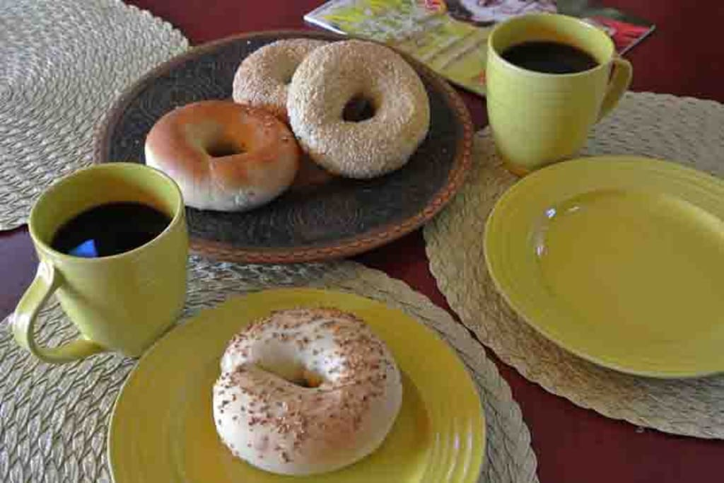 Starter breakfast of bagels or muffins, juice, coffee and an assortment of teas provided the first morning of your stay.