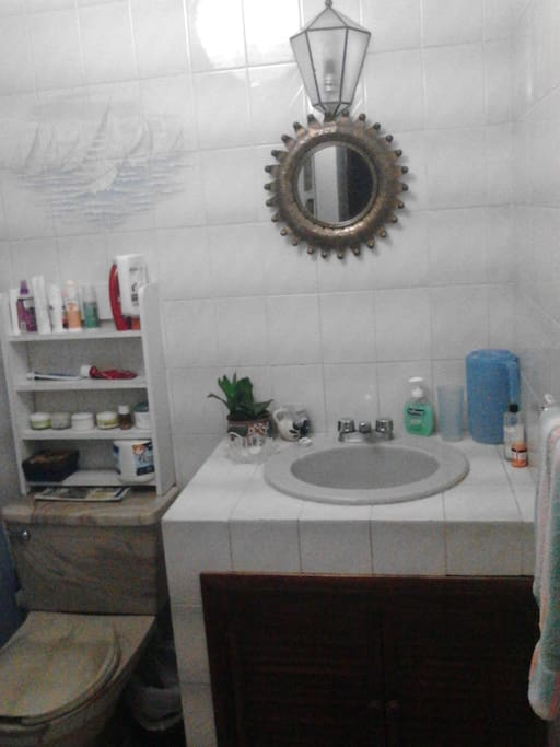 Bath with shower, toilet, and amenities.