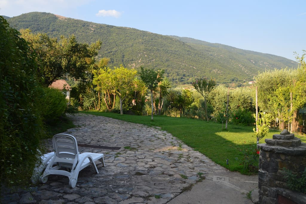 View from the front patio, towards the garden and hills